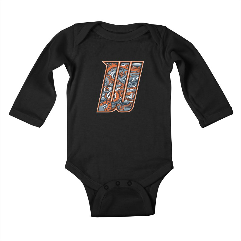 Crazy Face_W002 Kids Baby Longsleeve Bodysuit by Art of Yaky Artist Shop