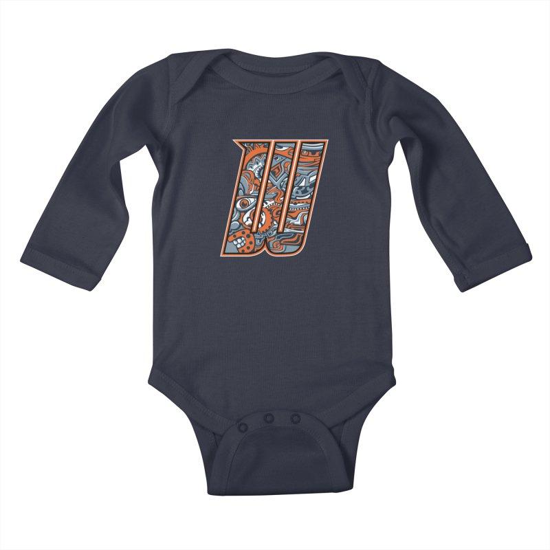 Crazy Face_W002 Kids Baby Longsleeve Bodysuit by Art of Yaky Artist Shop