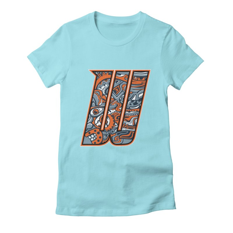Crazy Face_W002 Women's Fitted T-Shirt by Art of Yaky Artist Shop