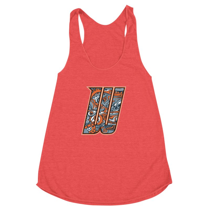 Crazy Face_W002 Women's Racerback Triblend Tank by Art of Yaky Artist Shop
