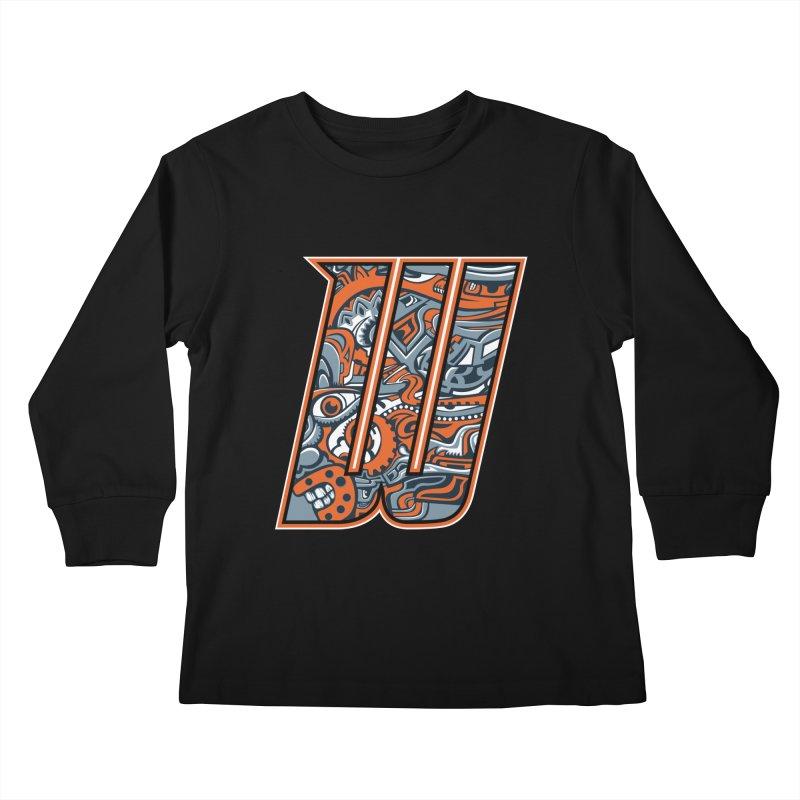 Crazy Face_W002 Kids Longsleeve T-Shirt by Art of Yaky Artist Shop
