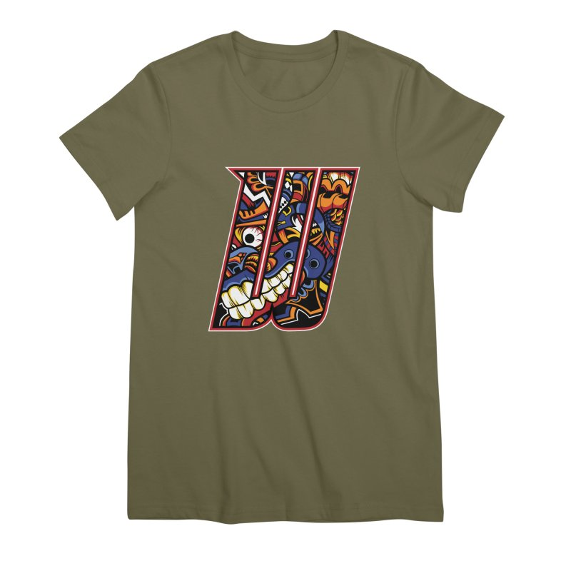 Crazy Face_W003 Women's Premium T-Shirt by Art of Yaky Artist Shop