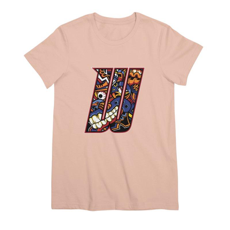 Crazy Face_W003 Women's Premium T-Shirt by Art of Yaky Artist Shop