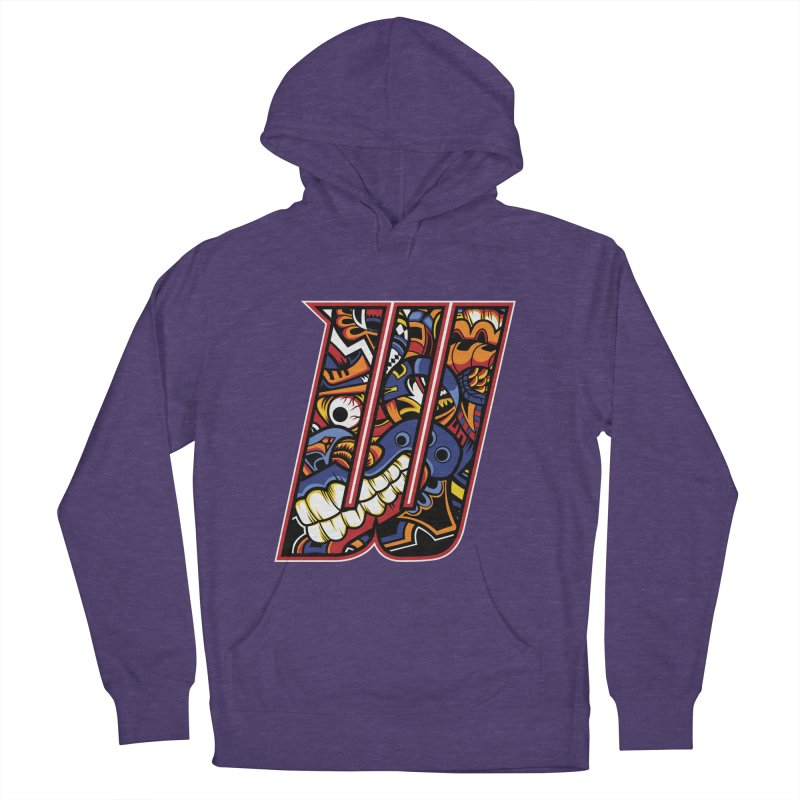 Crazy Face_W003 Women's French Terry Pullover Hoody by Art of Yaky Artist Shop