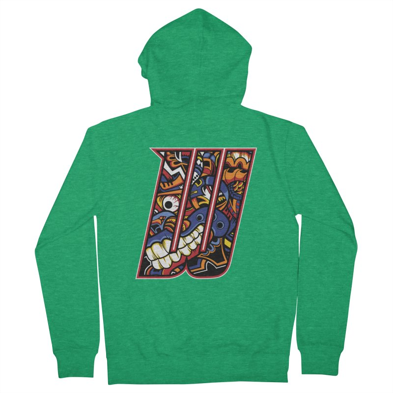Crazy Face_W003 Women's Zip-Up Hoody by Art of Yaky Artist Shop