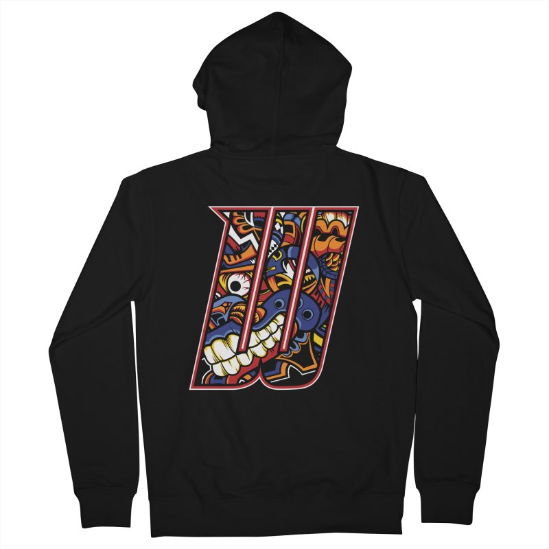 Crazy Face_W003 Women's French Terry Zip-Up Hoody by Art of Yaky Artist Shop