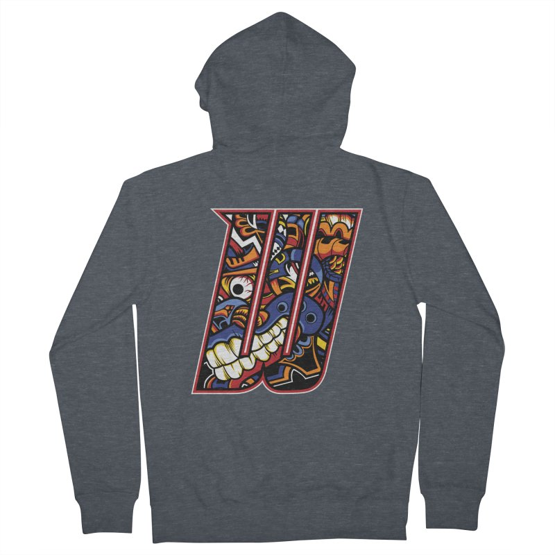 Crazy Face_W003 Men's French Terry Zip-Up Hoody by Art of Yaky Artist Shop