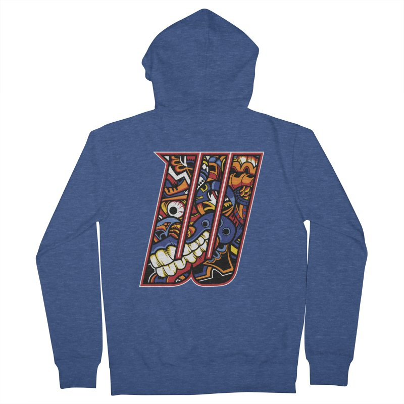 Crazy Face_W003 Men's Zip-Up Hoody by Art of Yaky Artist Shop