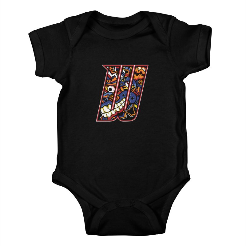 Crazy Face_W003 Kids Baby Bodysuit by Art of Yaky Artist Shop