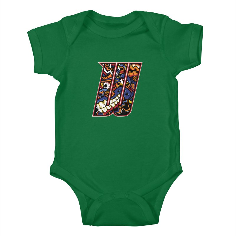 Crazy Face Alphabet (W) Kids Baby Bodysuit by Yaky's Customs