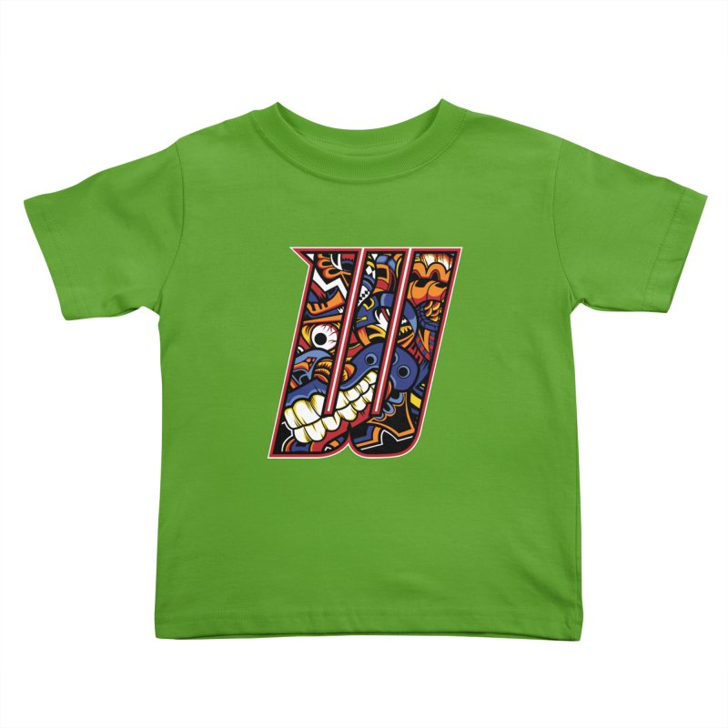 Crazy Face Alphabet (W) Kids Toddler T-Shirt by Yaky's Customs