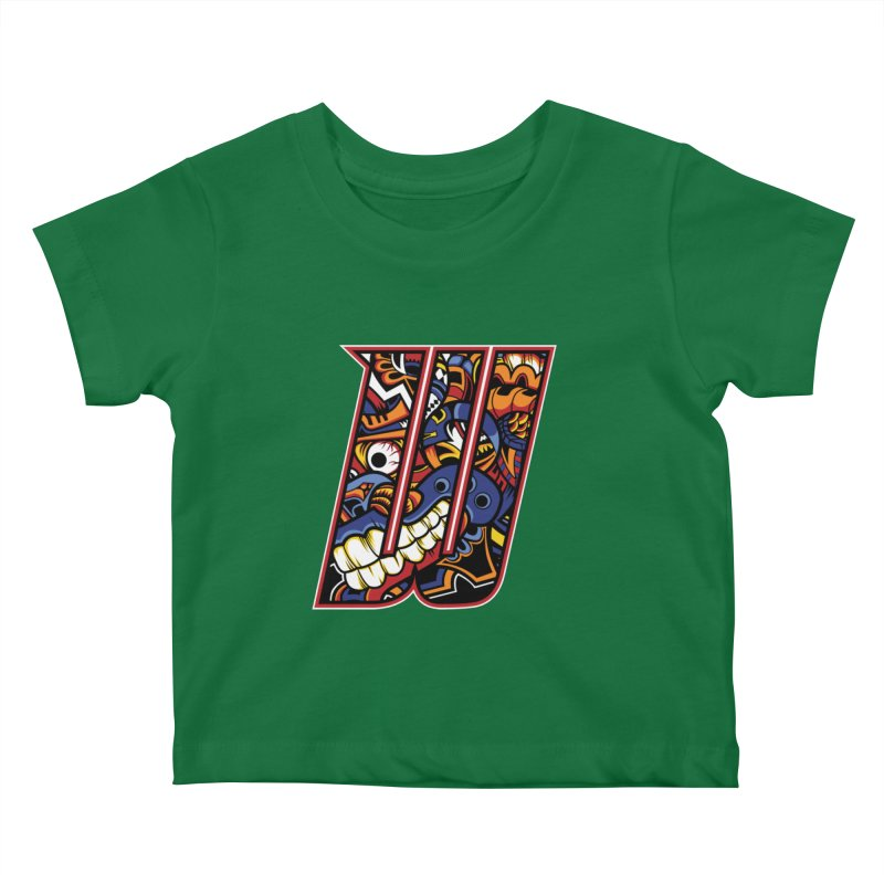 Crazy Face_W003 Kids Baby T-Shirt by Art of Yaky Artist Shop
