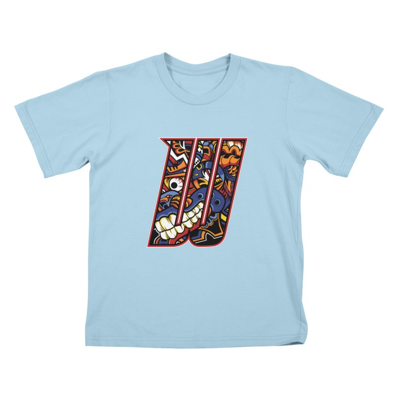 Crazy Face_W003 Kids T-Shirt by Art of Yaky Artist Shop