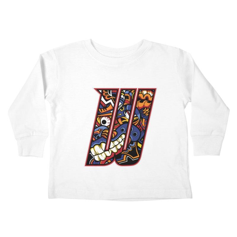 Crazy Face_W003 Kids Toddler Longsleeve T-Shirt by Art of Yaky Artist Shop