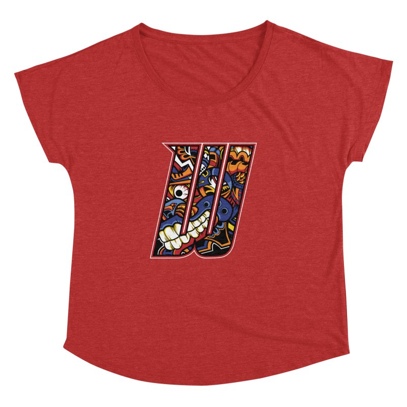 Crazy Face_W003 Women's Dolman Scoop Neck by Art of Yaky Artist Shop