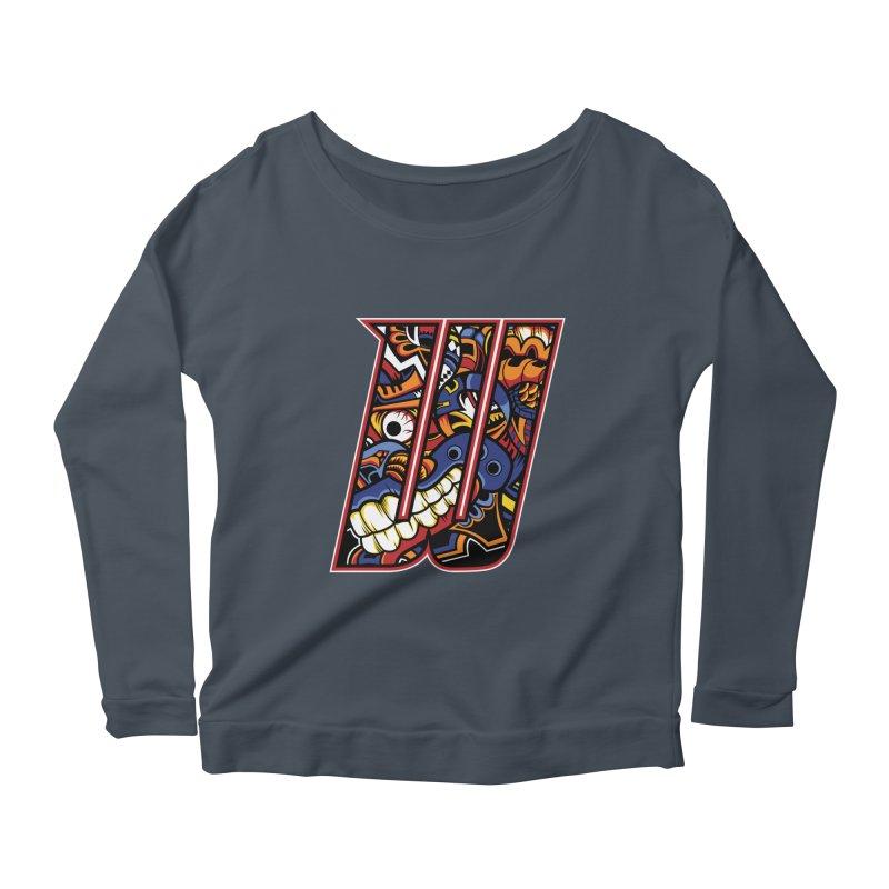 Crazy Face_W003 Women's Scoop Neck Longsleeve T-Shirt by Art of Yaky Artist Shop