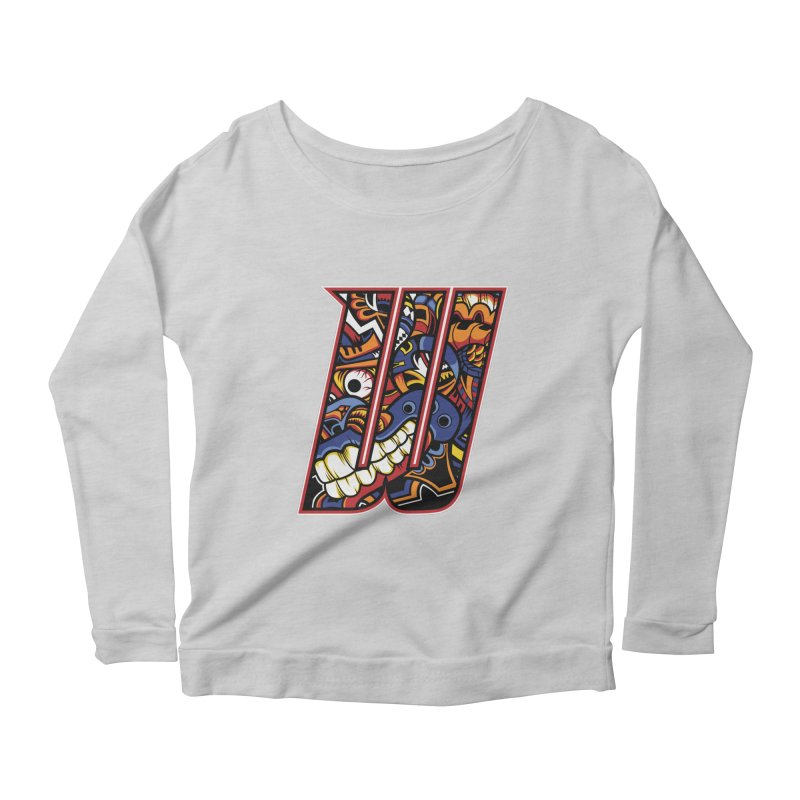 Crazy Face_W003 Women's Scoop Neck Longsleeve T-Shirt by Art of Yaky Artist Shop