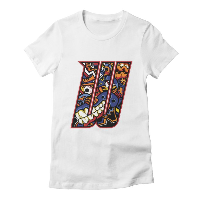 Crazy Face_W003 Women's Fitted T-Shirt by Art of Yaky Artist Shop