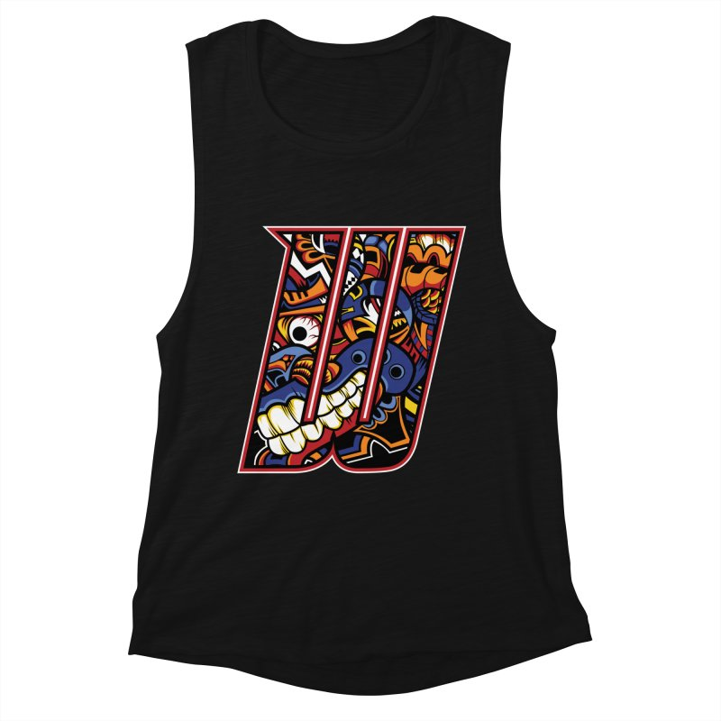 Crazy Face_W003 Women's Muscle Tank by Art of Yaky Artist Shop