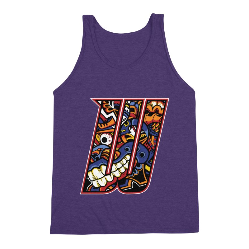 Crazy Face_W003 Men's Triblend Tank by Art of Yaky Artist Shop