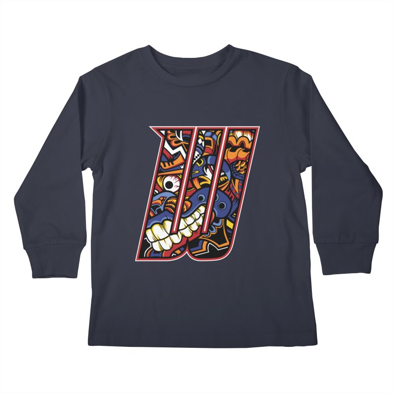 Crazy Face_W003 Kids Longsleeve T-Shirt by Art of Yaky Artist Shop