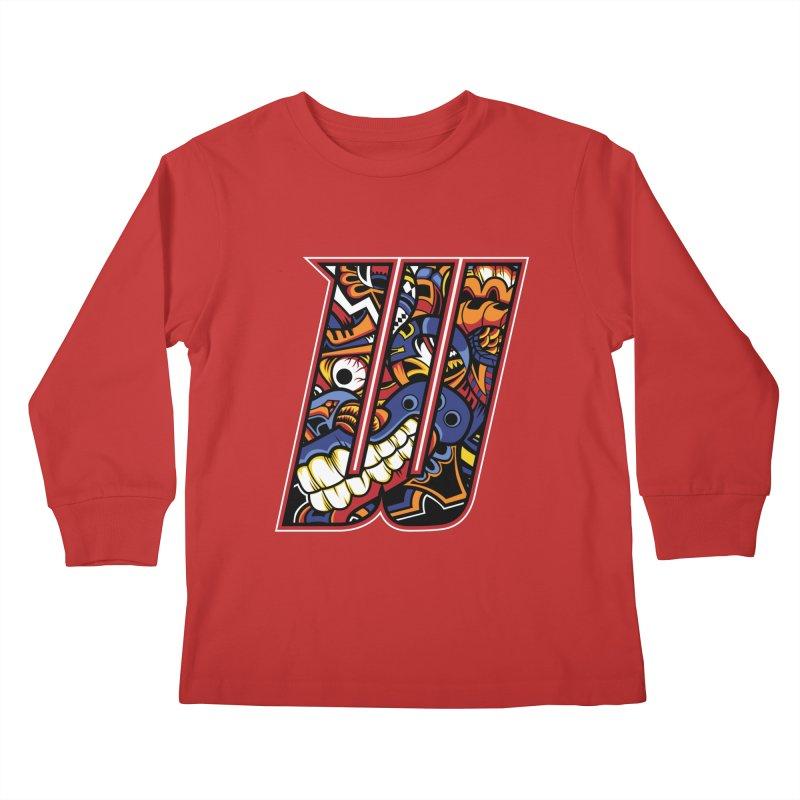 Crazy Face_W003 Kids Longsleeve T-Shirt by Art of Yaky Artist Shop