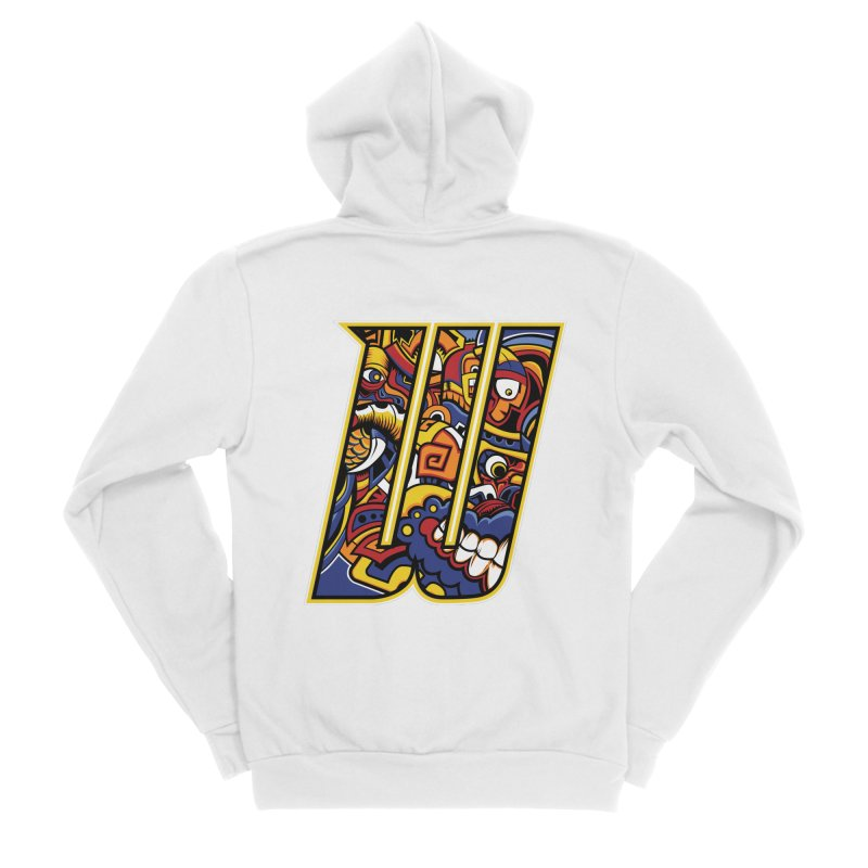 Crazy Face_W004 Women's Sponge Fleece Zip-Up Hoody by Art of Yaky Artist Shop