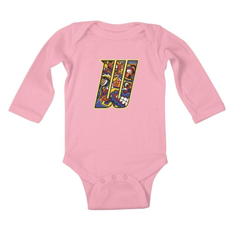 Crazy Face_W004 Kids Baby Longsleeve Bodysuit by Art of Yaky Artist Shop