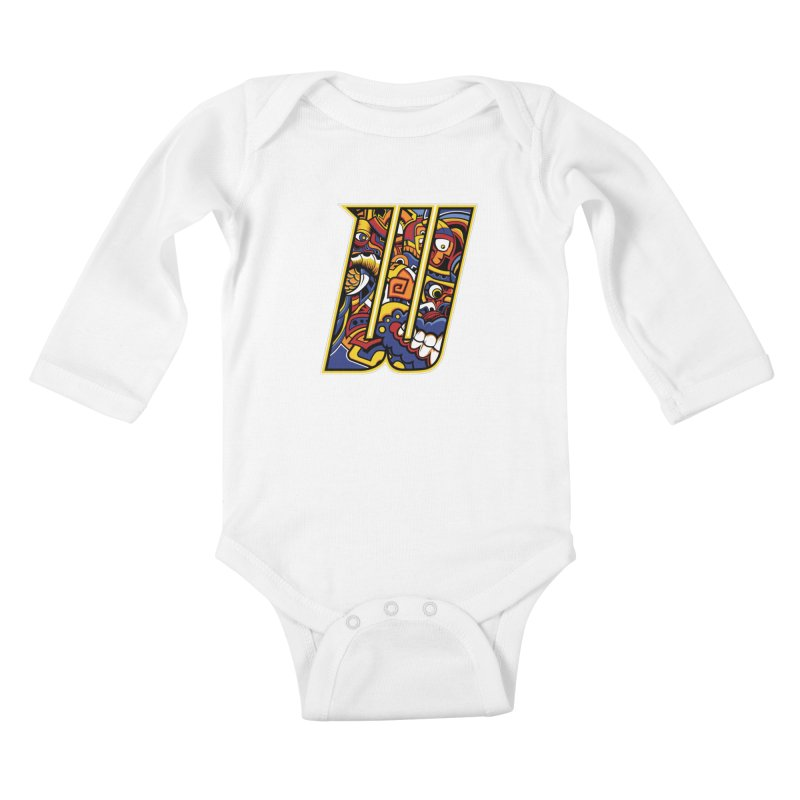 Crazy Face_W004 Kids Baby Longsleeve Bodysuit by Art of Yaky Artist Shop