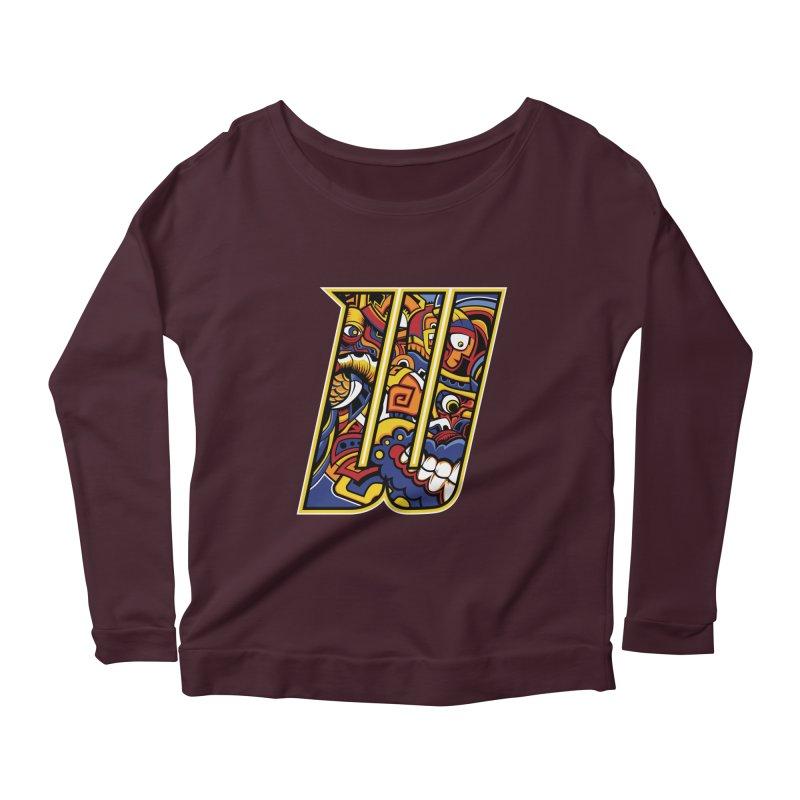Crazy Face_W004 Women's Scoop Neck Longsleeve T-Shirt by Art of Yaky Artist Shop