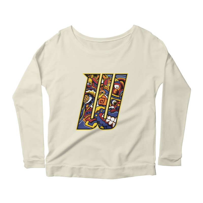 Crazy Face_W004 Women's Scoop Neck Longsleeve T-Shirt by Art of Yaky Artist Shop