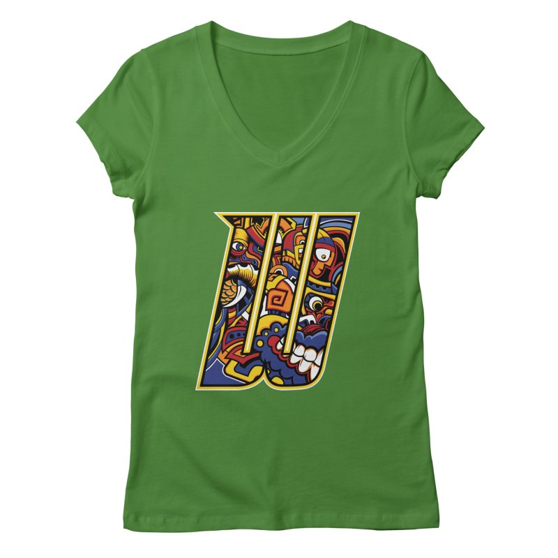 Crazy Face_W004 Women's Regular V-Neck by Art of Yaky Artist Shop