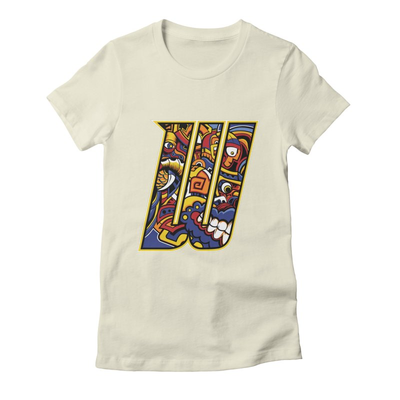 Crazy Face_W004 Women's Fitted T-Shirt by Art of Yaky Artist Shop