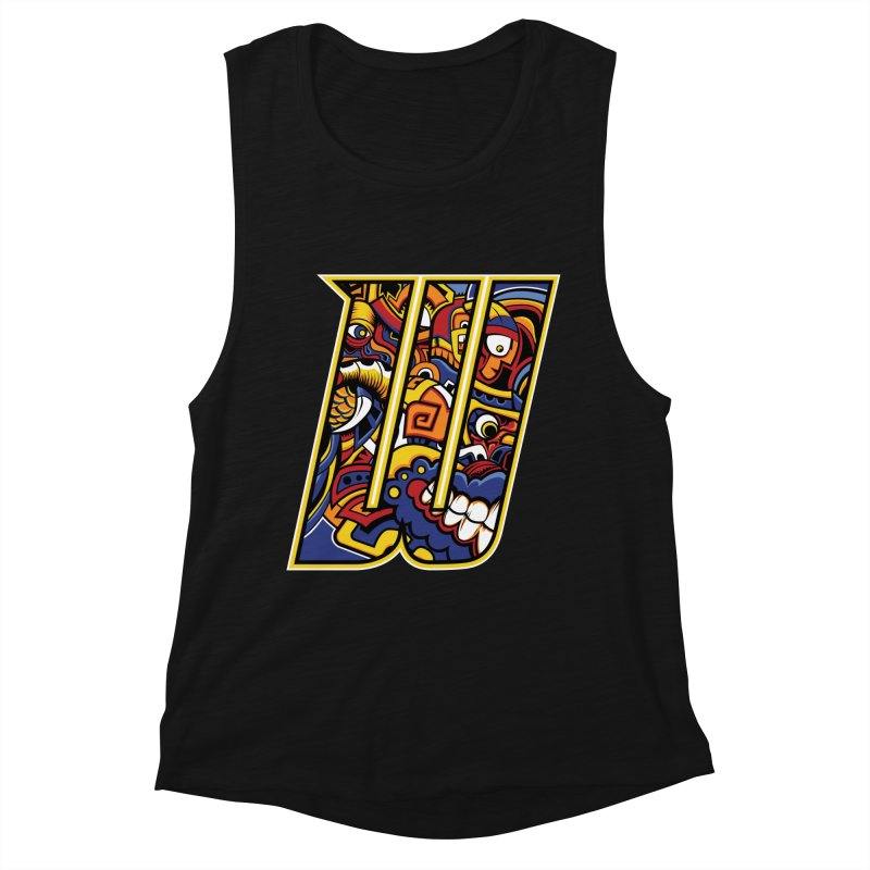 Crazy Face_W004 Women's Muscle Tank by Art of Yaky Artist Shop