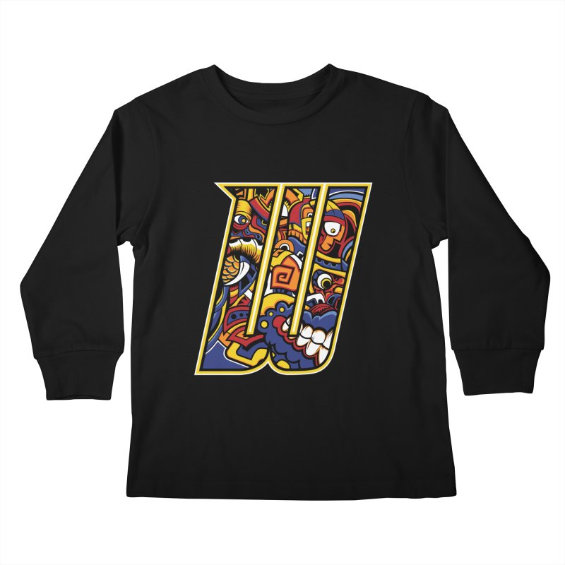 Crazy Face_W004 Kids Longsleeve T-Shirt by Art of Yaky Artist Shop