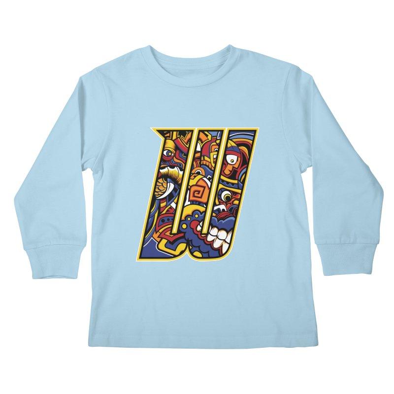 Crazy Face_W004 Kids Longsleeve T-Shirt by Art of Yaky Artist Shop