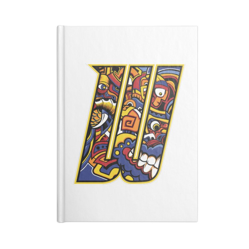 Crazy Face_W004 Accessories Lined Journal Notebook by Art of Yaky Artist Shop