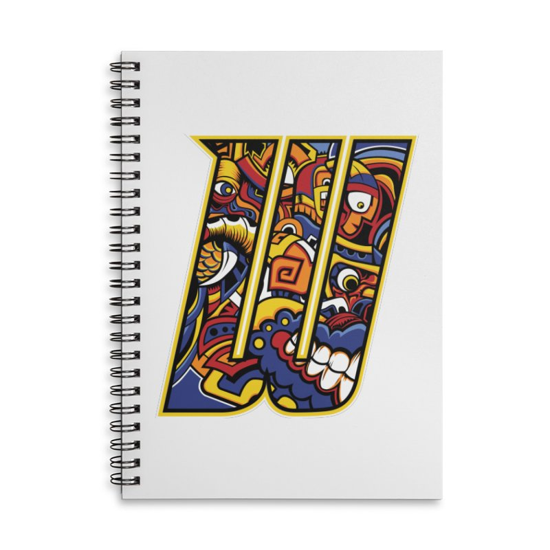 Crazy Face_W004 Accessories Lined Spiral Notebook by Art of Yaky Artist Shop