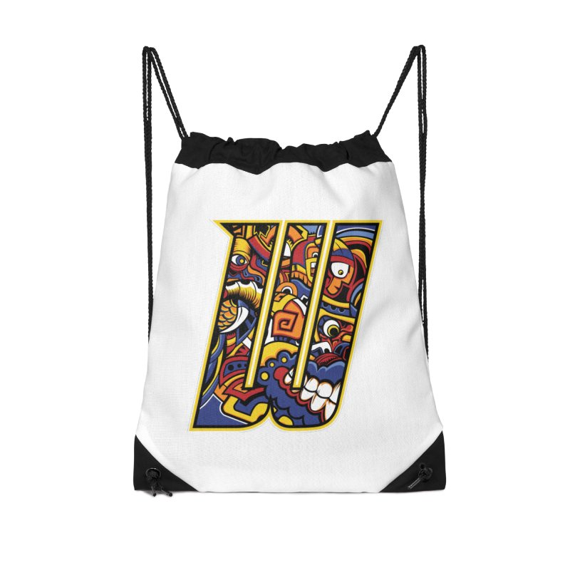 Crazy Face_W004 Accessories Drawstring Bag Bag by Art of Yaky Artist Shop