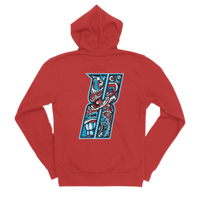 Crazy Face_X001 Men's Zip-Up Hoody by Art of Yaky Artist Shop