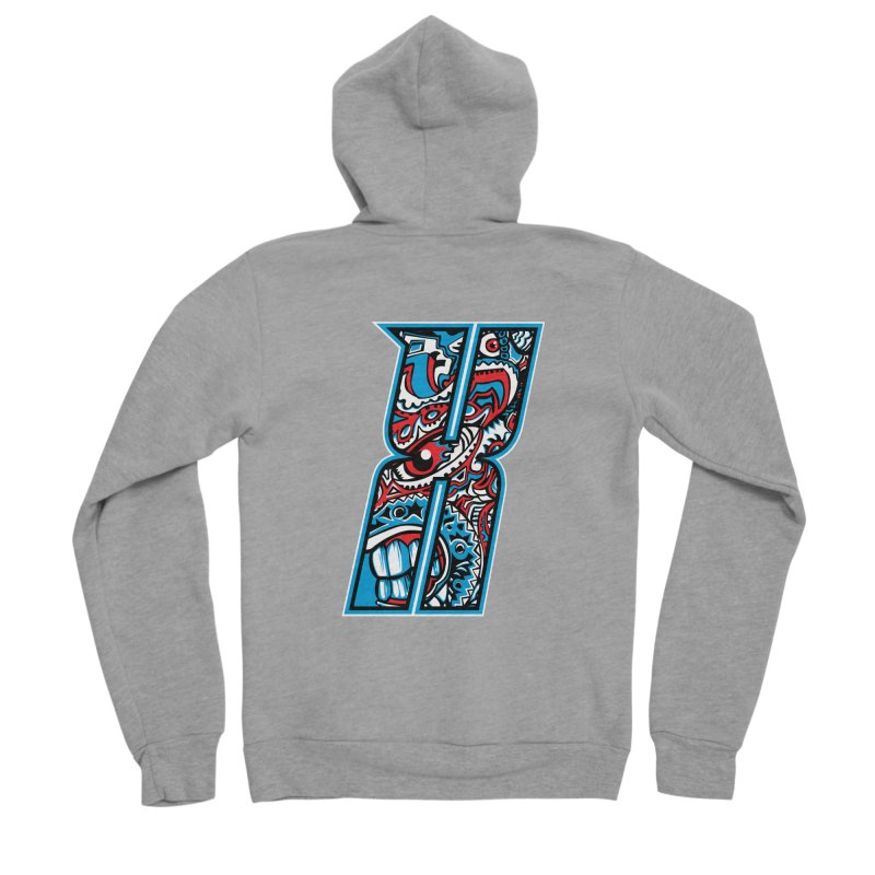Crazy Face_X001 Women's Sponge Fleece Zip-Up Hoody by Art of Yaky Artist Shop