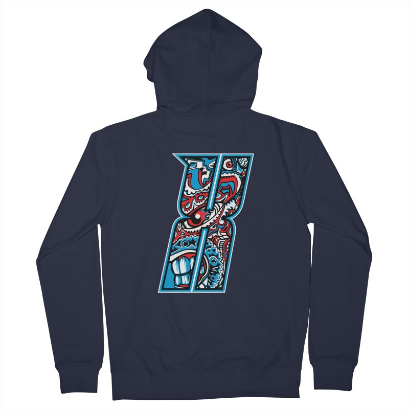 Crazy Face_X001 Women's French Terry Zip-Up Hoody by Art of Yaky Artist Shop