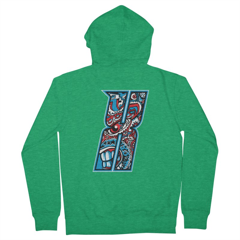 Crazy Face_X001 Men's French Terry Zip-Up Hoody by Art of Yaky Artist Shop