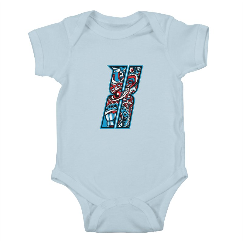 Crazy Face_X001 Kids Baby Bodysuit by Art of Yaky Artist Shop