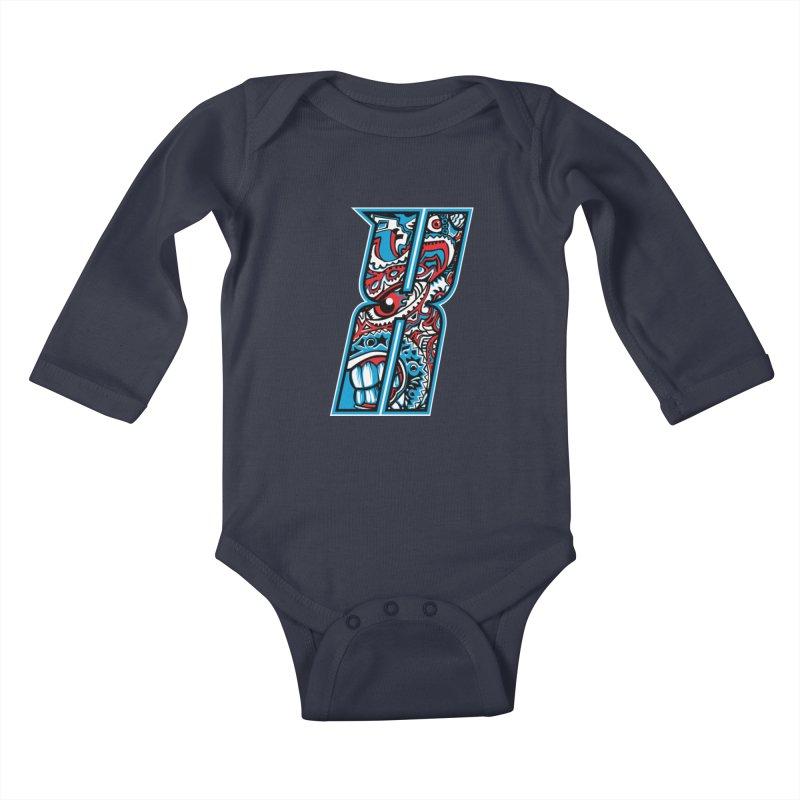 Crazy Face Alphabet (X) Kids Baby Longsleeve Bodysuit by Yaky's Customs