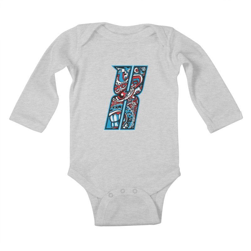 Crazy Face_X001 Kids Baby Longsleeve Bodysuit by Art of Yaky Artist Shop