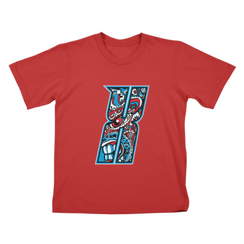 Crazy Face_X001 Kids T-Shirt by Art of Yaky Artist Shop