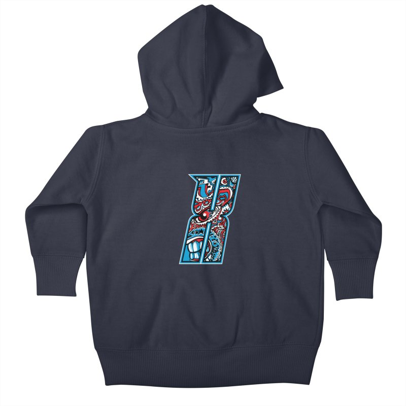 Crazy Face_X001 Kids Baby Zip-Up Hoody by Art of Yaky Artist Shop