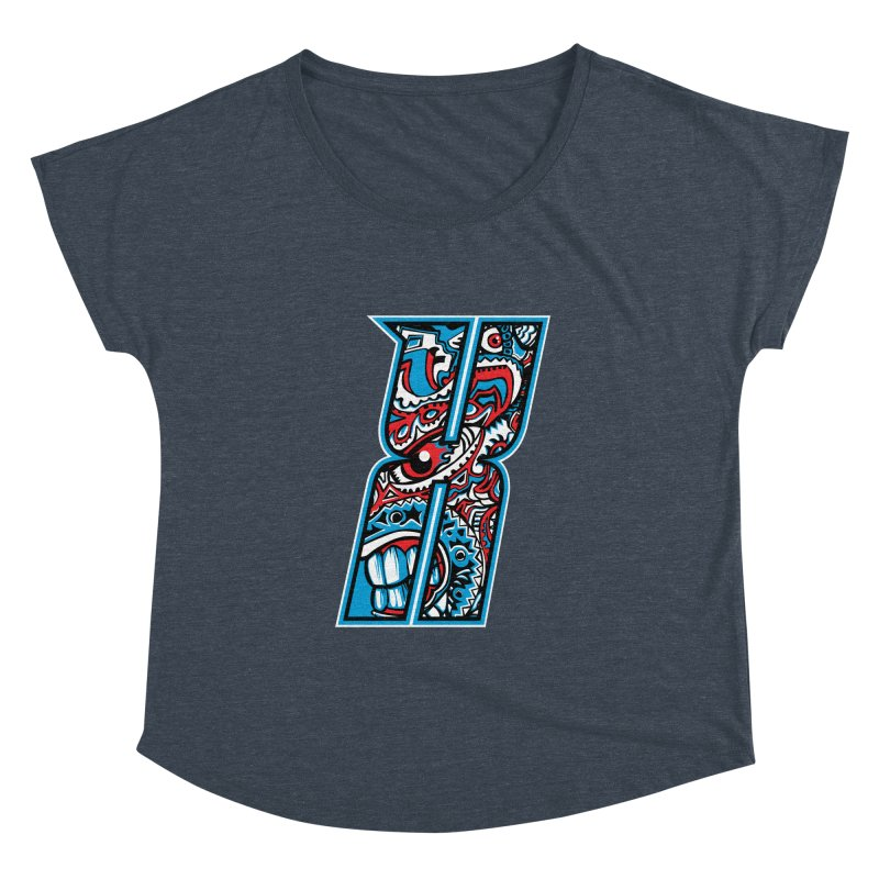 Crazy Face_X001 Women's Dolman Scoop Neck by Art of Yaky Artist Shop