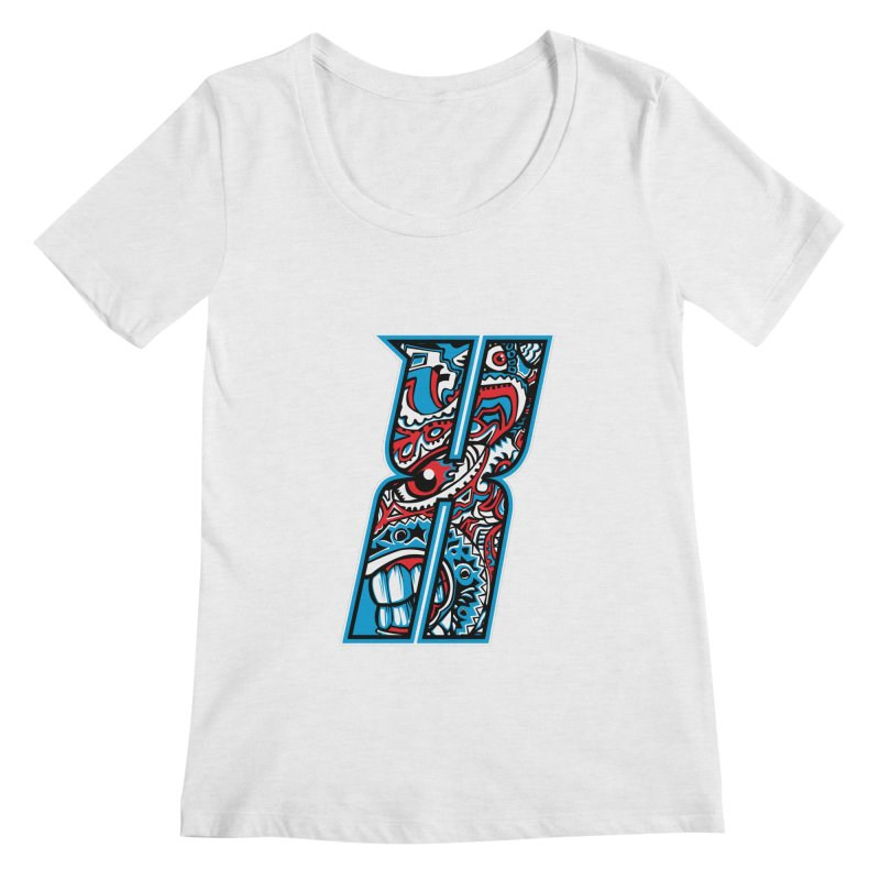Crazy Face_X001 Women's Scoop Neck by Art of Yaky Artist Shop